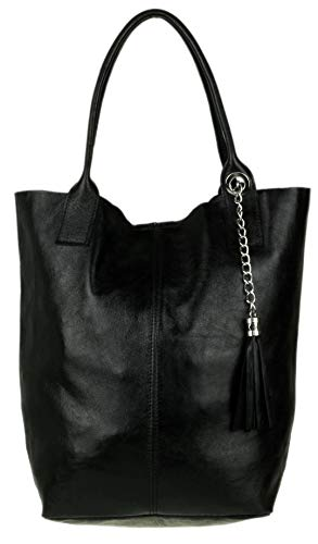 Girly HandBags Open Top Real Italian Suede Shoulder Bag (Metallic Black) from Girly Handbags