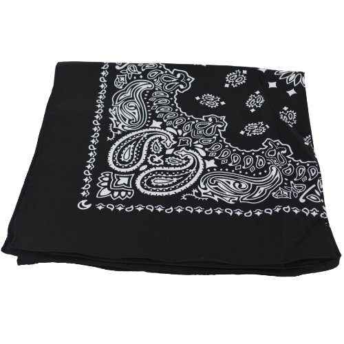 BLACK Bandana with WHITE square Paisley pattern ON BOTH SIDES from Girlyshop