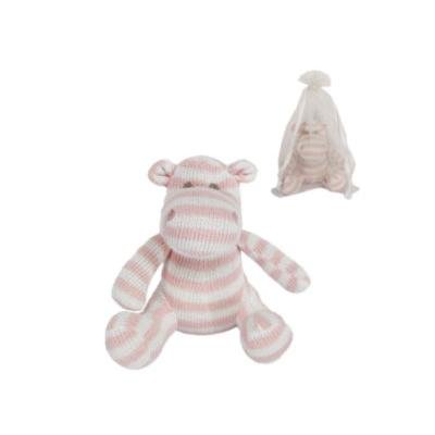 Beautiful Gisela Graham Knitted cotton hippo baby toy - pink stripe from Gisela Graham