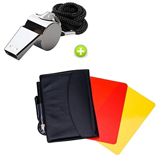 Giveet Metal Whistle with Sports Referee Card Set, Red Yellow Card and Stainless Steel Metal Coach Whistle for Football from Giveet