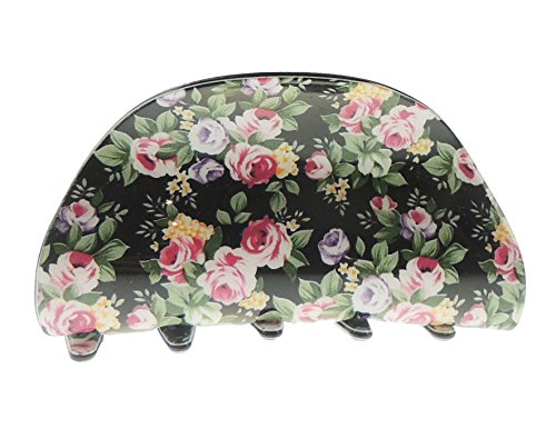 Ladies Floral English Garden Print 8cm Hair Claw Clamp Clip Oval Black from Glamour Girlz