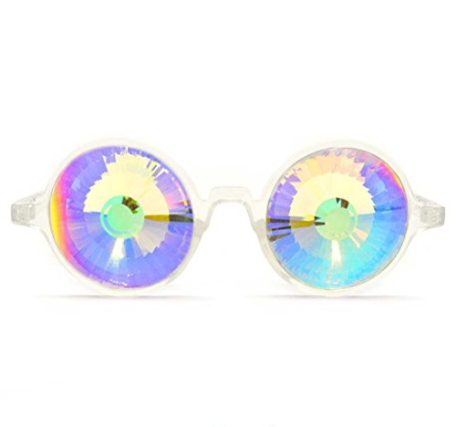GloFX Clear Kaleidoscope Glasses - Rainbow Wormhole - Rave EDM Rainbow Crystal from GloFX
