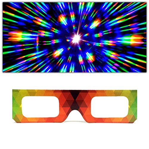 GloFX Paper Cardboard Diffraction Glasses - Geometric Rainbow - 100 Pack from GloFX