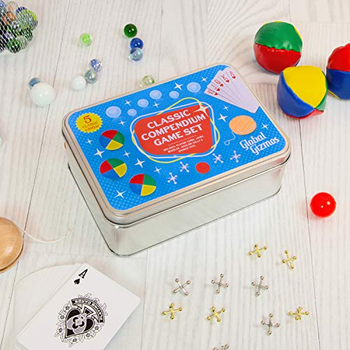 Global Gizmos 56080 Classic Games Compendium Set Including Jacks, Juggling Balls, YoYo and Playing Cards, Various from Global Gizmos