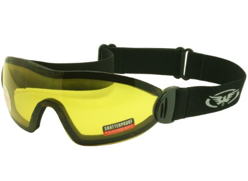 Global Vision Skydiving/Freefall and Parachuting Yellow Tinted Shatterproof UV400 Goggles and Free Microfibre Storage Pouch from Global Vision