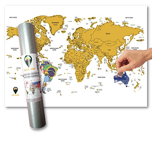 Global Walkabout Scratch Off Map with Flags background - Deluxe Travel Size World Map Poster - Countries and Facts - Travel Gift (White) from Global Walkabout