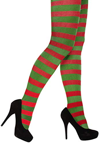 RED GREEN STRIPED TIGHTS ELF JESTER PIXIE CHRISTMAS UNISEX FANCY DRESS ACCESSORY from Glossy Look