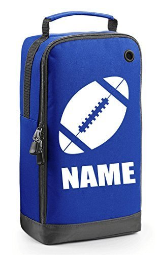 Personalised Rugby Boot Bag with Carry Handle - Rugby Ball Themed - (PLEASE GO TO ADD GIFT OPTION BEFORE CHECKOUT....ENTER NAME & COLOUR IN FREE GIFT MESSAGE SECTION.... AND SAVE) from GoGo Graphics
