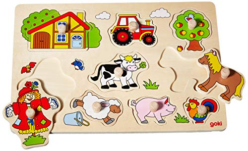 Goki 57995 Farm Vi, Lift-Out Puzzle, Multicolor from Goki