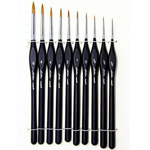 Fine Detail Brushes with Triangular Handles,10 Miniature Brush for Fine Detailing & Art Painting,Acrylic&Nail, Models,Watercolour, Miniatures,Oil, Wargaming Figures. from golden maple
