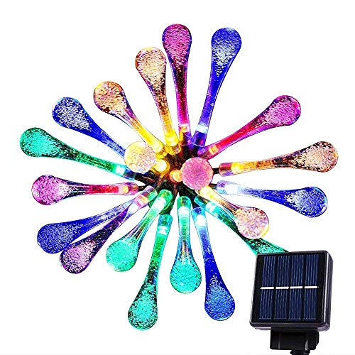 Goodia multi color 4.8M 20 LED Icicle Lights Solar Powered Raindrop Garden String Fairy Lights/ LED Waterproof Decorative Lights for Outdoor, Garden, Patio, Christmas, Xmas Tree, Holiday Party from Goodia