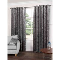Plush Ready Made Lined Eyelet Curtains Steel from Gordon John Ready Made Curtains