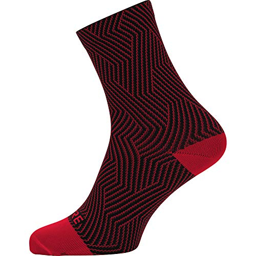 Gore Wear Unisex Breathable Mid-Length Cycling Socks, C3 Optiline Mid Socks, Size: 35-37, Colour: Red/Black, 100227 from Gore Wear
