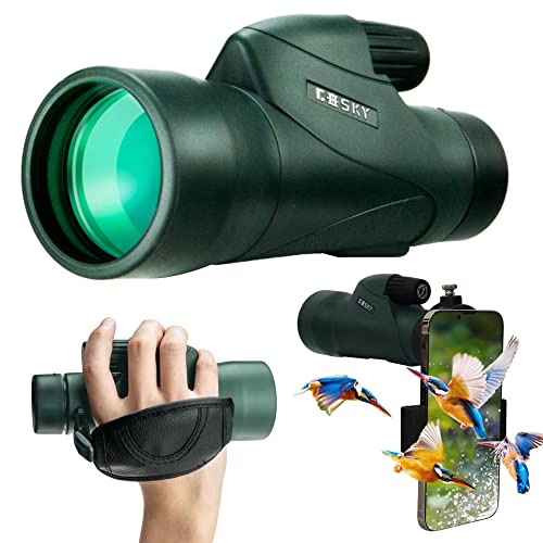 Gosky 12x55 High Definition Monocular Telescope and Quick Smartphone Holder - 2018 New Waterproof Monocular -BAK4 Prism for Wildlife Bird Watching Hunting Camping Travelling Wildlife Secenery from Gosky