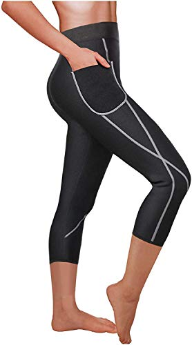 Gotoly Women Neoprene Sauna Pants Weight Loss Slim Training High Waist Tight Legging Pocket Running Capris Sport Wear Workout Thermo Fat Burning Sweat Shaper from Gotoly