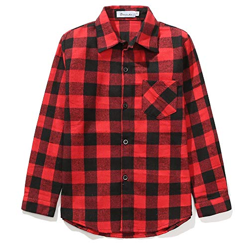 Grandwish Kids Long Sleeve Plaid Cotton Shirt Red Black 5-6 Years from Grandwish