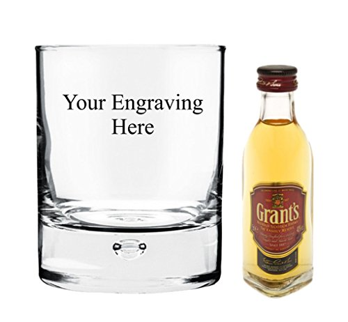 Personalised Engraved 10 oz Bubble In Base glass, 50ml Miniature Grants Whisky in Board Gift box from Grants