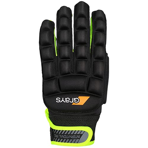 Grays Unisex International Pro Right Gloves, Black/Fluo Yellow, X-Small from Grays