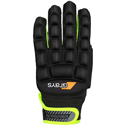 Grays Unisex International Pro Left Gloves, Black/Fluo Yellow, 2X-Small from Grays