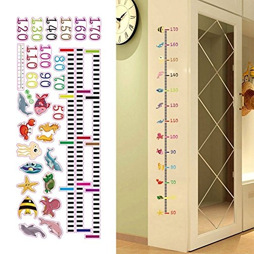 Cartoon Sea Animals Removable Height Chart Wall Sticker Kid's Growth Chart wall Decal Measure Wall Decor for Nursery Decoration from Greenlans