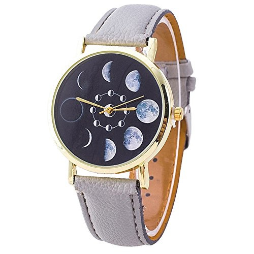 Unisex Moon Phase Astronomy Space Watch Faux Leather Band Quartz Wrist Watch from Greenlans