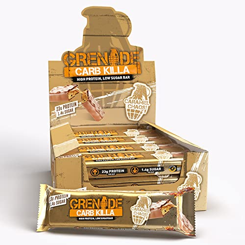 Grenade Carb Killa High Protein and Low Carb Bar, 12 x 60 g, Caramel Chaos from Grenade