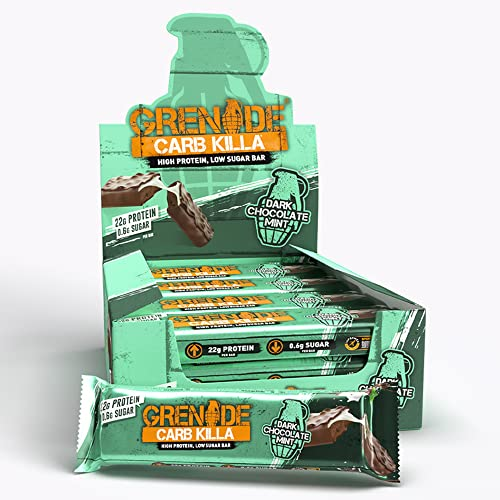 Grenade Carb Killa High Protein and Low Carb Bar, 12 x 60 g - Dark Chocolate Mint from Grenade