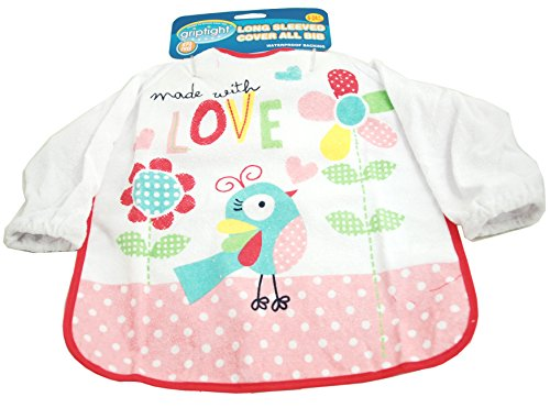 Griptight - Cover All Sleeved Baby Feeding Bib - 6 - 24 Months (Pink Bird) from Griptight
