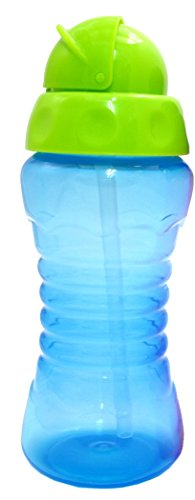 Griptight - Flexi Soft Silicone Straw Sipper Flip Top Bottle Cup (Blue/Green) from Griptight