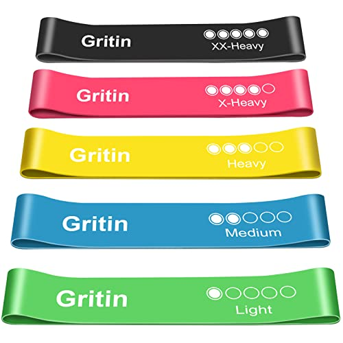 Gritin Resistance Bands, [Set of 5] Skin-Friendly Resistance Fitness Exercise Loop Bands with 5 Different Resistance Levels - Free Carrying Case Included - Ideal for Home, Gym, Yoga, Training from Gritin