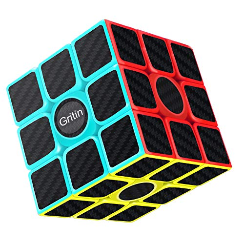 Cube, Gritin Magic Cube 3x3x3 Smooth Speed Cube 3D Puzzles Cube With Vivid Color Carbon Fiber Surface - Ultra Durable and Flexible Easy Turning for Brain Training Game or Holiday Christmas Gift from Gritin