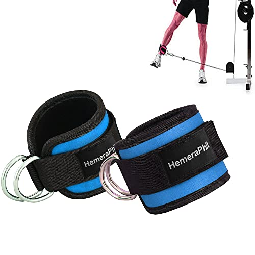 Grofitness Double D-ring Ankle Cuff Straps Adjustable Leg Weight Wrist Belt for Cable Machine Attachment , 1Pair (Blue) from Grofitness