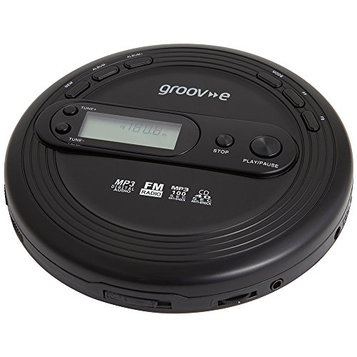 Groov-e Personal MP3 & Radio CD Player with Track Programmable Memory, LCD Display and Earphones Included - Black from Groov-e