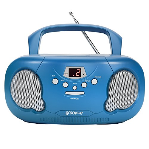 Groov-e Portable CD Player Boombox with AM/FM Radio, 3.5mm AUX Input, Headphone Jack, LED Display - Blue from Groov-e