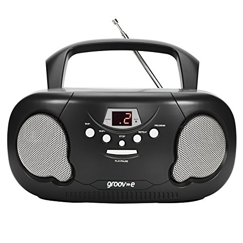 Groov-e Portable CD Player Boombox with AM/FM Radio, 3.5mm AUX Input, Headphone Jack, LED Display - Black from Groov-e