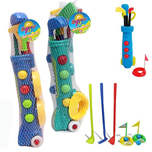 KIDS PLASTIC GOLF CLUB TOY CART CADDY SET BALLS BAG SUMMER GARDEN BEACH OUTDOOR by Guaranteed4Less from Guaranteed4Less