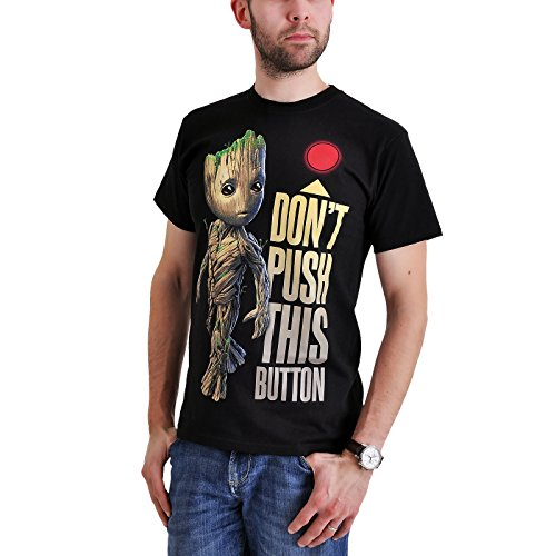 Guardians of The Galaxy 2 - Groot - Button T-Shirt Black M from Guardians b8767ca22