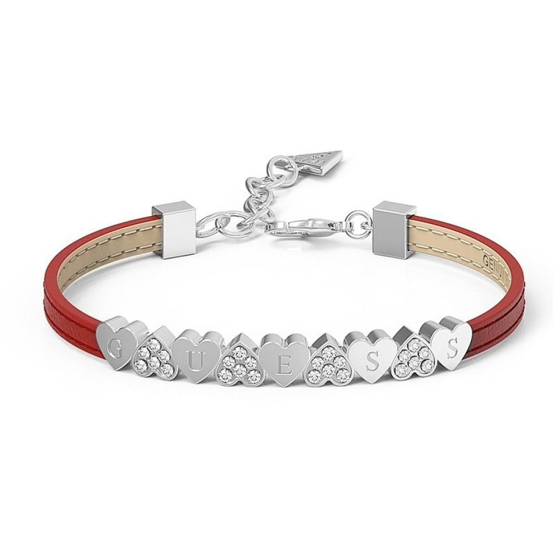 GUESS red leather bracelet with rhodium plated centre bar featuring alternating pavè Swarovski® crystal and plain hearts, presented in a box set. from Guess Jewellery