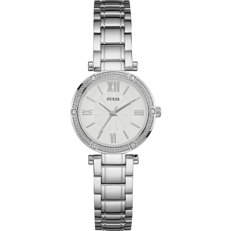 GUESS Ladies silver watch with white dial. from Guess
