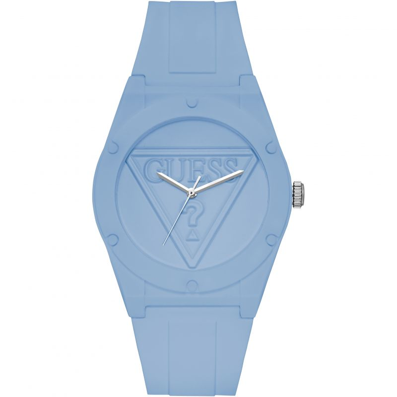 GUESS Retro Pop blue silicone watch with blue logo dial. from Guess