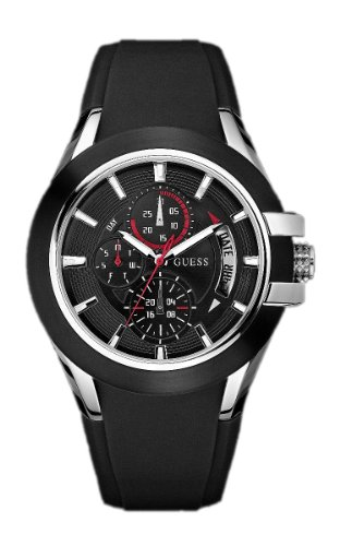 Guess Nitrogen Men's Quartz Watch with Black Dial Analogue Display and Black Rubber Strap W12621G1 from GUESS