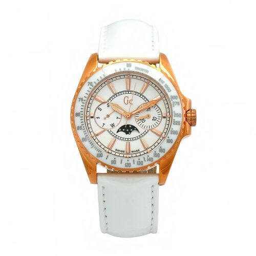 GUESS Women's 41006M1 GC White Leather White Dial Watch from Guess