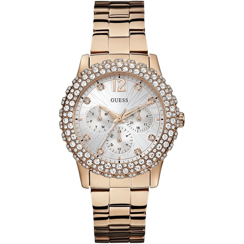 GUESS Ladies rose gold bracelet watch with crystal details from Guess