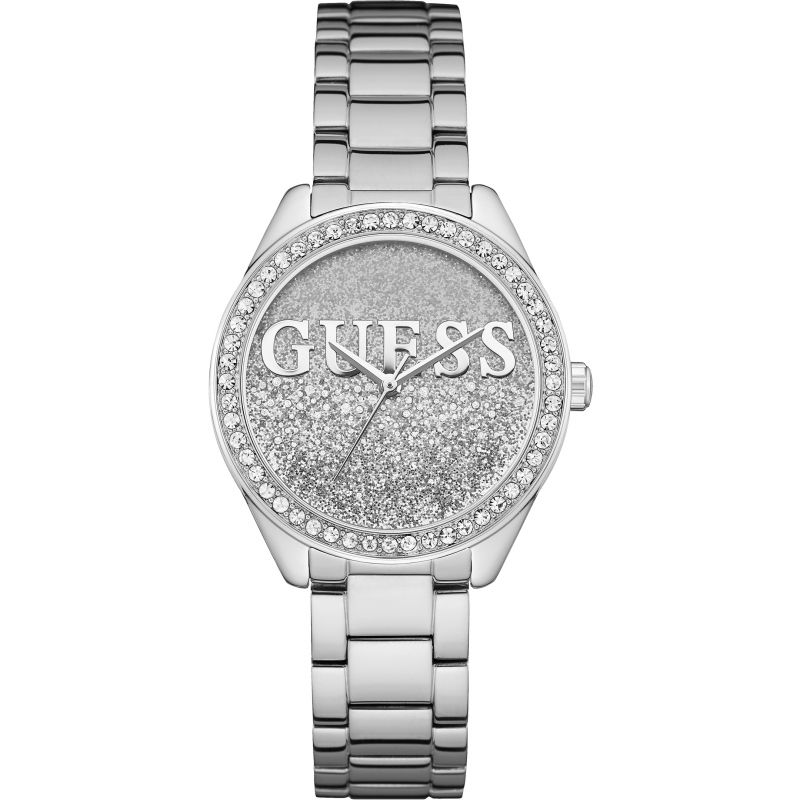 GUESS Ladies silver watch with silver and white glitter logo dial. from Guess