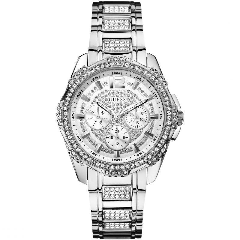 GUESS Ladies silver and crystal bracelet watch from Guess