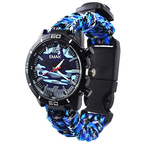 Outdoor Survival Multifunction Military Compass Thermometer Wrist Watches Camouflage Paracord Rope Bracelet Hand-Woven Wristband Sport Men Watches, Blue from Joeyan