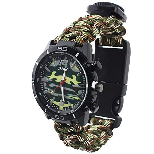 Outdoor Survival Multifunction Military Compass Thermometer Wrist Watches Camouflage Paracord Rope Bracelet Hand-Woven Wristband Sport Men Watches, ArmyGreen from Joeyan