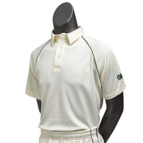 GM Cricket Gunn and Moore Men's Teknik Club Short Sleeve Cricket Shirt-Cream/Green, S, Small from GM Cricket