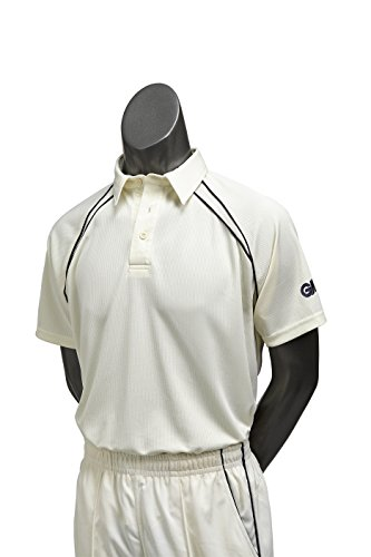 GM Cricket Gunn and Moore Men's Teknik Club Short Sleeve Cricket Shirt-Cream/Navy, Large from GM Cricket