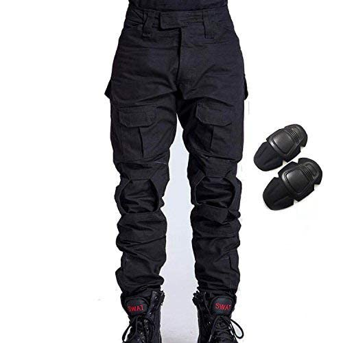 H World EU Military Army Tactical Airsoft Paintball Shooting Pants Combat Men Pants with Knee Pads Black (S) from H World EU
